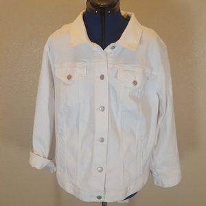 Loft Plus Womens White Denim Jacket New W/ Tags 20